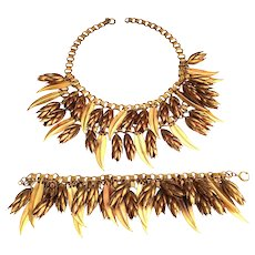 Art Deco Book Chain Pine Cones & Leaves Necklace Bracelet Set Gold Tone