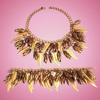Art Deco Book Chain Pine Cones & Leaves Necklace Bracelet Set Gold Tone