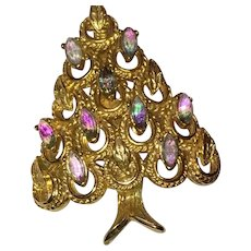 Unusual Hollycraft Signed Special Effects Rhinestone Christmas Tree Pin Brooch