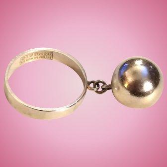 1973 Erik Granit Finland Sterling Ring w Dangling Ball Charm