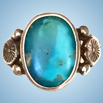 Vintage Native American Turquoise Cabochon Sterling Silver Ring Size 8