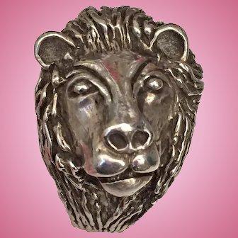Vintage Mens Lion Ring Sterling Silver Size 11