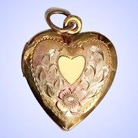Vintage Heart Locket Tri Color Gold Over Sterling Silver