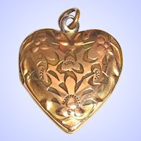 Vintage Heart Locket GF Gold Filled