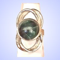 Fancy Green Jasper Huge Cabochon Sterling Silver Ring Size 7.5