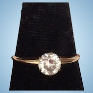 Victorian Engagement Ring White Spinel Solitaire 14K RGP Rolled Gold Plate Size 7-1/4