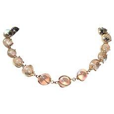 Pools of Light Necklace Quartz Crystal Art Deco Gold Tone