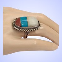 Vintage Native American Ring Sterling Silver Inlay Turquoise