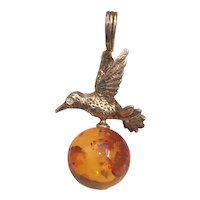 Vintage Pendant Sterling Silver Eagle on Amber Ball