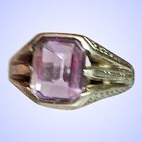 Vintage Unisex Art Deco Amethyst 14K White Gold Ring Size 7-1/2