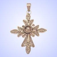 Vintage Filigree 925 Sterling Silver Cross Charm Pendant 10 grams