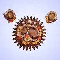 Juliana DeLizza & Elster Pin Brooch Clip Earrings Set Shades of Topaz Givre Rhinestones