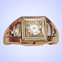 Vintage Mens 14K Faceted Quartz Ring 9.2 grams Size 10-3/4