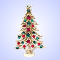 Hollycraft Christmas Tree Pin White Flocked Multicolor Rhinestones