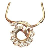 1950 Trifari Rhinestone Necklace Alfred Phillipe Gold Tone