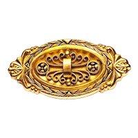 Vintage 1940s Victorian Revival Hayward Gold Tone Pin Brooch