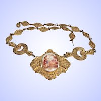 Antique Victorian Porcelain Portrait Necklace Romantic Courting Scene