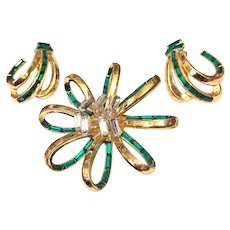 Vintage Trifari Pin Brooch Earrings 1952 Place Vendome Green Baguettes