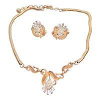 Vintage Crown Trifari Thistle Necklace Earrings Set Rhinestone Baguettes Goldtone