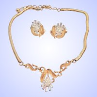 Vintage Crown Trifari Thistle Necklace Earrings Set Rhinestone Baguettes Goldtone