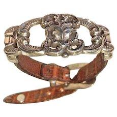 Vintage Southwestern Style Leather Metal Bracelet