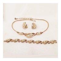 Trifari 1954 Mermaid Necklace Bracelet Earrings Set Simulated Pearl Gold Tone