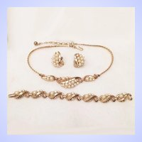 Trifari 1954 Mermaid Necklace Bracelet Earrings Set Simulated Pearl Gold Tone