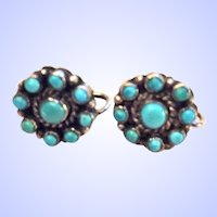 Vintage Native American Earrings Turquoise Blossom Sterling Silver Screw Back