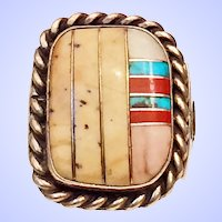 Vintage Native American Turquoise CoraI Inlay Sterling Silver Ring Size 8.5