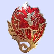 Vintage Red Siam Sterling Silver Dancer Pin Brooch