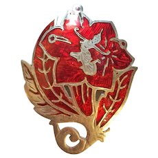 Vintage Red Siam Sterling Silver Dancer Pin Brooch