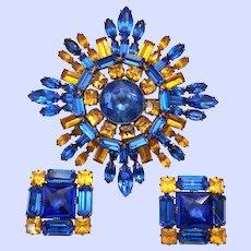 Vintage Schreiner Rhinestone Pin Brooch Earrings Set Cobalt Blue Golden Topaz Color