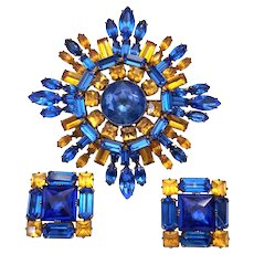 Vintage Schreiner Rhinestone Pin Brooch Earrings Set Cobalt Blue Golden Topaz Color