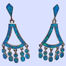 Chandelier Earrings Simulated Opal Sterling Silver Vintage