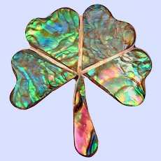 Shamrock Pin Brooch Vintage Taxco Mexico Abalone Sterling