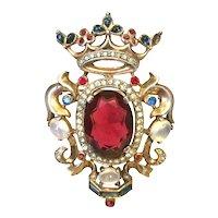 Vintage Trifari Regal Heraldic Shield Crest Pin Brooch A Philippe - Iconic!