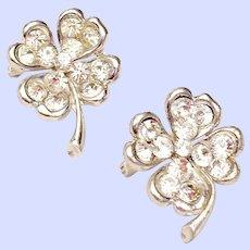 Vintage Signed Bogoff Four Leaf Clover Shamrock Pins Clear Rhinestone Silver Tone Rhodium Plated