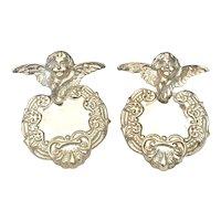 Vintage Sterling Silver Repousse Earrings Cherub Putti Angel