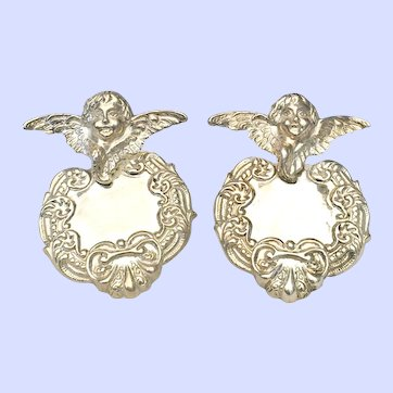 Vintage Sterling Silver Repousse Earrings Cherub Putti Angel