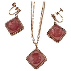 Antique Victorian 10K Gold Carnelian Intaglio Necklace and Earrings Set