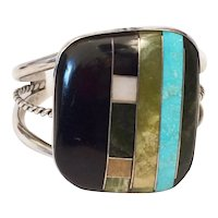 Native American Zuni Color Block Turquoise Inlay Cuff Bracelet Sterling Silver