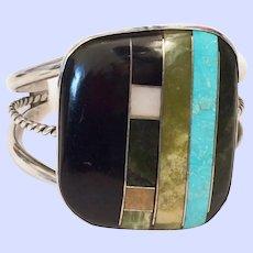 Vintage Santo Domingo Modernist Turquoise Inlay Cuff Bracelet Sterling Silver