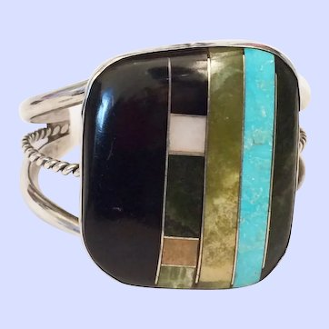 Vintage Santo Domingo Modernist Turquoise Inlay Cuff Bracelet Sterling Silver