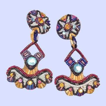 Vintage Bradley Levin Signed Mosaic Clip Chandelier Earrings Rhinestones Beads