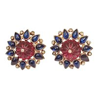 Trifari Clip Earrings 1949 Moghul Scherazade Alfred Philippe
