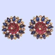 Trifari Clip Earrings 1949 Moghul Scherazade Alfred Philippe