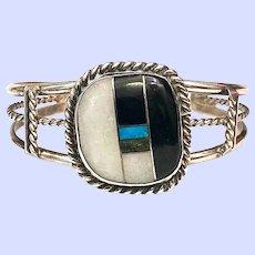 Vintage Native American Black Onyx Turquoise Inlay Sterling Cuff Bracelet Santo Domingo