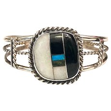Vintage Native American Black Onyx Turquoise Inlay Sterling Cuff Bracelet Santo Domingo