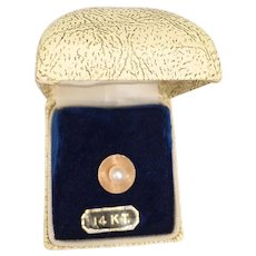 Vintage Pearl 14K Tac Lapel Pin Original Box - 1.8 Grams 7mm Cultured Pearl