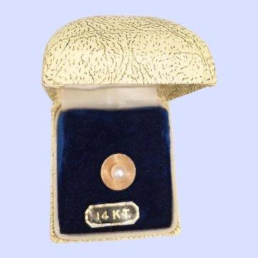 Vintage Pearl 14K Tac Lapel Pin Original Box - 1.8 Grams 7mm Cultured Pearl